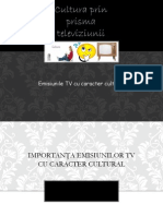 Cultura Prin Prisma Televiziunii