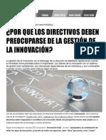 Por qué los directivos deben preocuparse de la gestión de la innovación