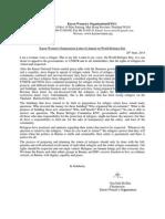 Karen Women's Organization Letter of Appeal on World Refugee Day ( English Version)