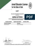 sabrina watterson teachers license 2014-2017