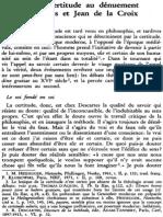 De La Certitude Au Dénuement. Descartes Et Jean de La Croix NRT 113-4 (1991) p.516-534 Jean-Yves Lacoste