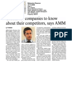 Crucial for companies to know about their competitors, says AMM