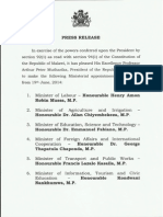 List of new Cabinet Appointments - June 19, 2014