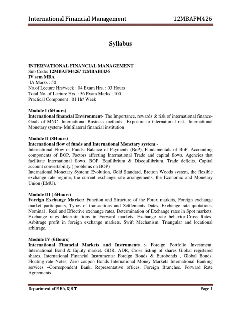 Mba IV International Financial Management [12mbafm426] Notes | Fixed