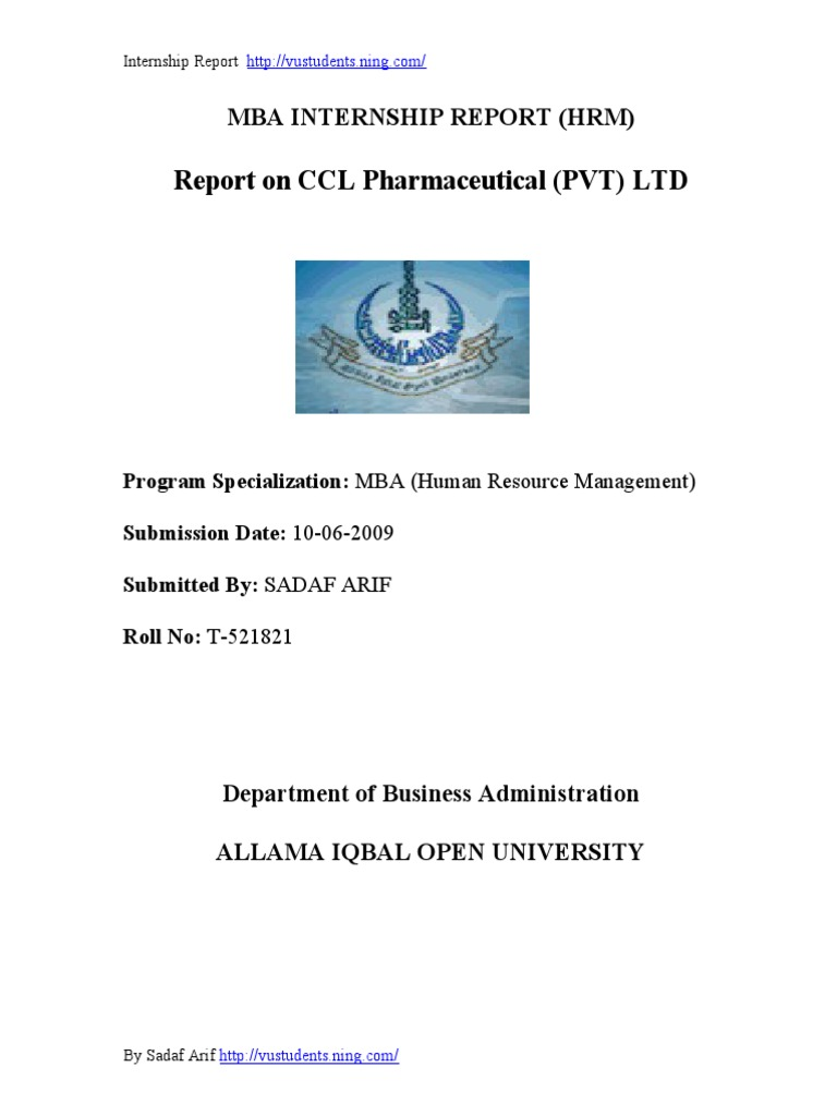 CCL Pharmaceutical HRM internship report | Human Resource Management