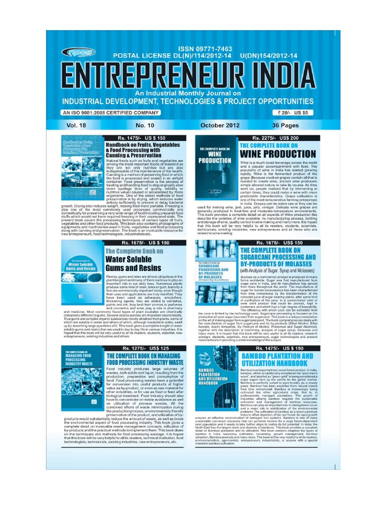 Entrepreneur India monthly magazine October 2012 | Beer | Resin