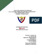 Informe de Pasantía. Colina g. Yoleccy b.
