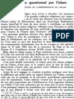 Le Chrétien Questionné Par l'Islam. Un Effort Chrétien de Compréhension de l'Islam NRT 113-6 (1991) p.801-823 Henri Tessier (Mgr)