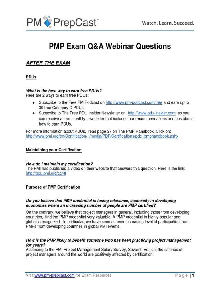 Pmp exam qa webinar questions project management professional pmp exam qa webinar questions project management professional test assessment 1betcityfo Image collections