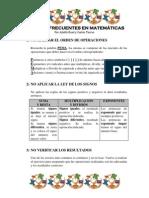 Errores frecuentes en Matemáticas