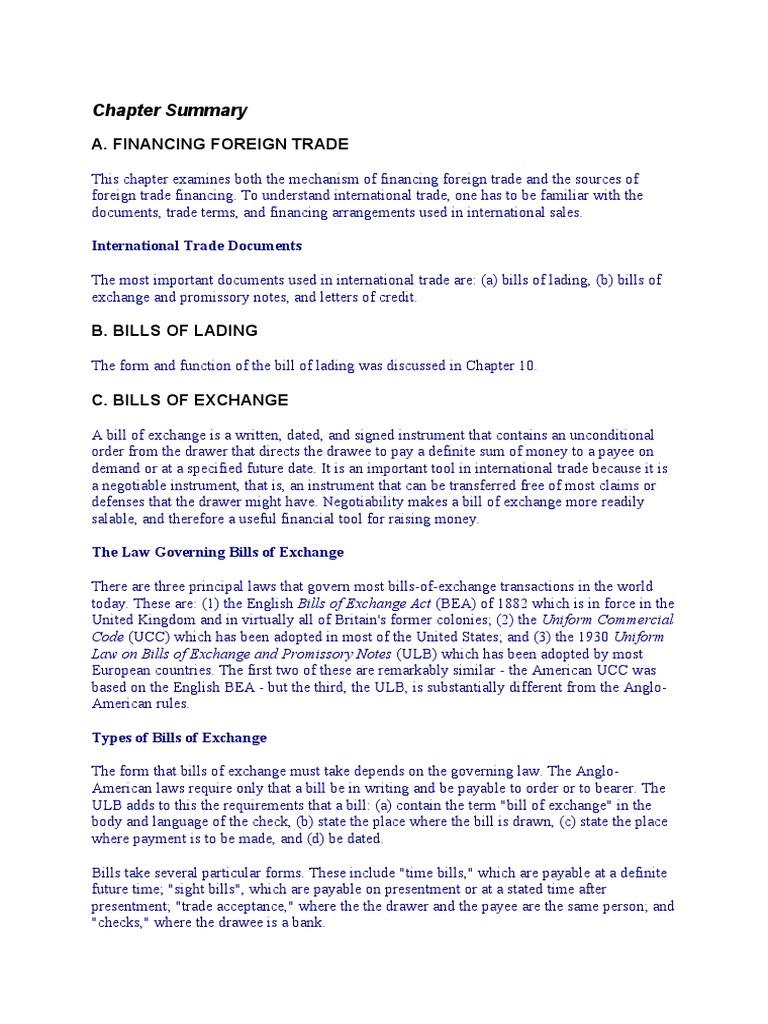 Types of bills of exchange negotiable instrument letter of credit altavistaventures Choice Image