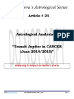 Article # 24 Astrological Analysis of Transit Jupiter in CANCER - June 2014_2015