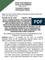 j. Ra 9700 an Act Strengthening the Comprehensive Agrarian Reform Program (Carp)