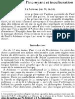 Radermakers J. Et Bossuyt P. S.J., Rencontre de l'Incroyant Et Inculturation. Paul à Athènes (Ac 17, 16-34). NRT 117-1 (1995) p.19-43