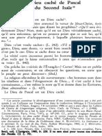 Texier, Le Dieu Caché de Pascal Et Du Second Isaïe
