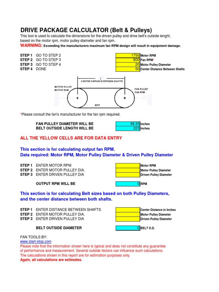 Belt & Pulley Calculator