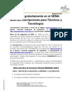 Boletín oferta educativa I trimestre 2010 Regional Huila