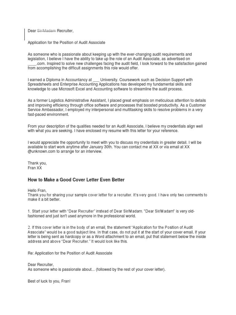 Sample Cover Letter Resume Audit