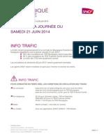 CP N°43 Info trafic du samedi 21 juin 2014