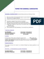 Revised Sample Test Paper for General Candidates