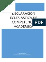 Declaración Eclesiástica de Competencia Académica