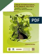 CONVOCATORIA_VI Coloquio Internacional de Filosofia Politica_Lima Peru 2014