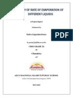 Study of Rate of evaporation of liquids