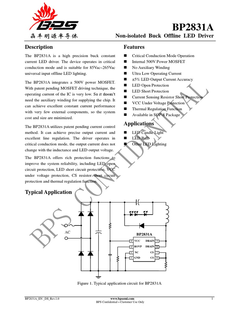 Bp2831a En Ds Rev10 Mosfet Electrical Engineering Led Circuit Series Protection