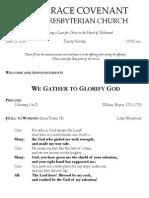 Worship Bulletin June 15, 2014