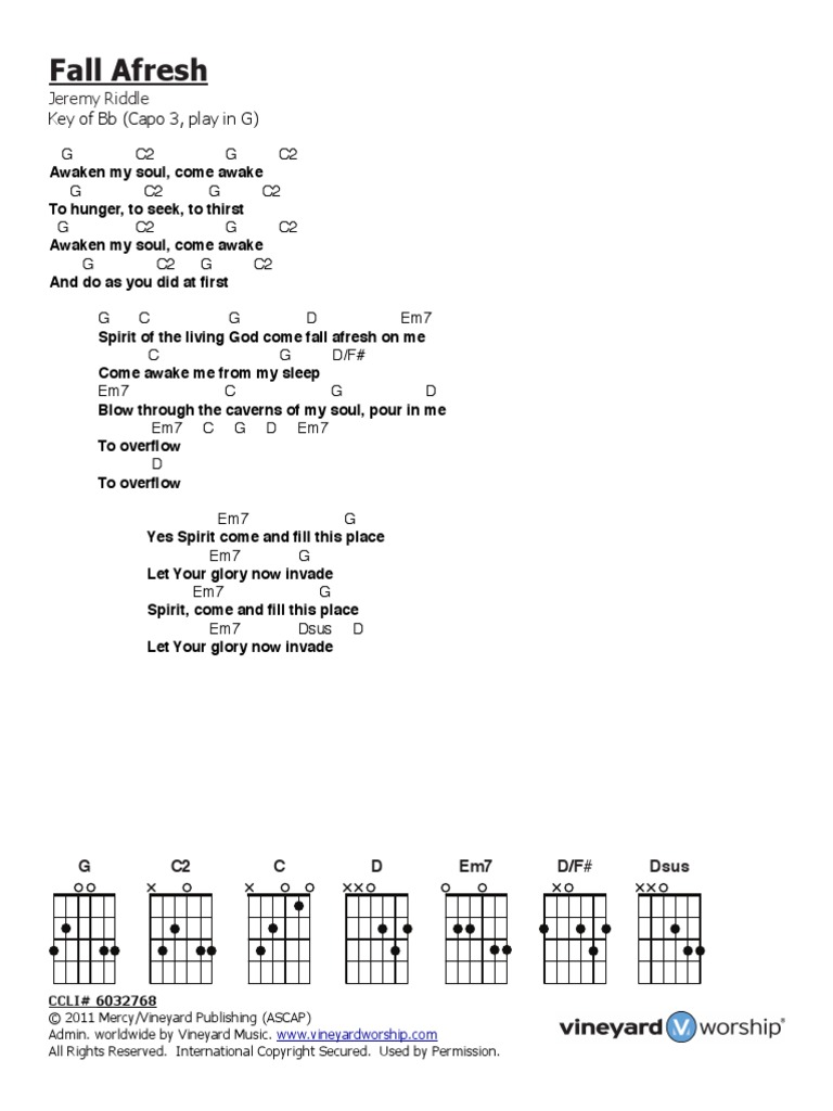 Fall Afresh Chords PDF   Religion And Belief