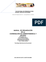 Manual de Organizacion de La Coordinacion de Coorrespondencia y Archivo