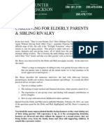 Sibling Rivalry & Caregiving for Elderly Parents, By Victoria Lawyer John Jordan