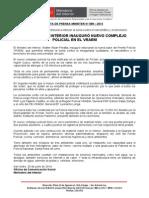 MINISTRO DEL INTERIOR INAUGURÓ NUEVO COMPLEJO POLICIAL EN EL VRAEM