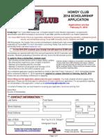 Howdy Club Scholarship Application 2014 - 2015