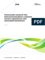 Cummunity Research Into Telecommunications Customer Service Experiences and Associated Behaviors
