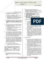 01Movimento Retilineo Uniforme Lista1