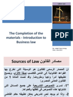 The Completion of the Materials Introduction to Business Law