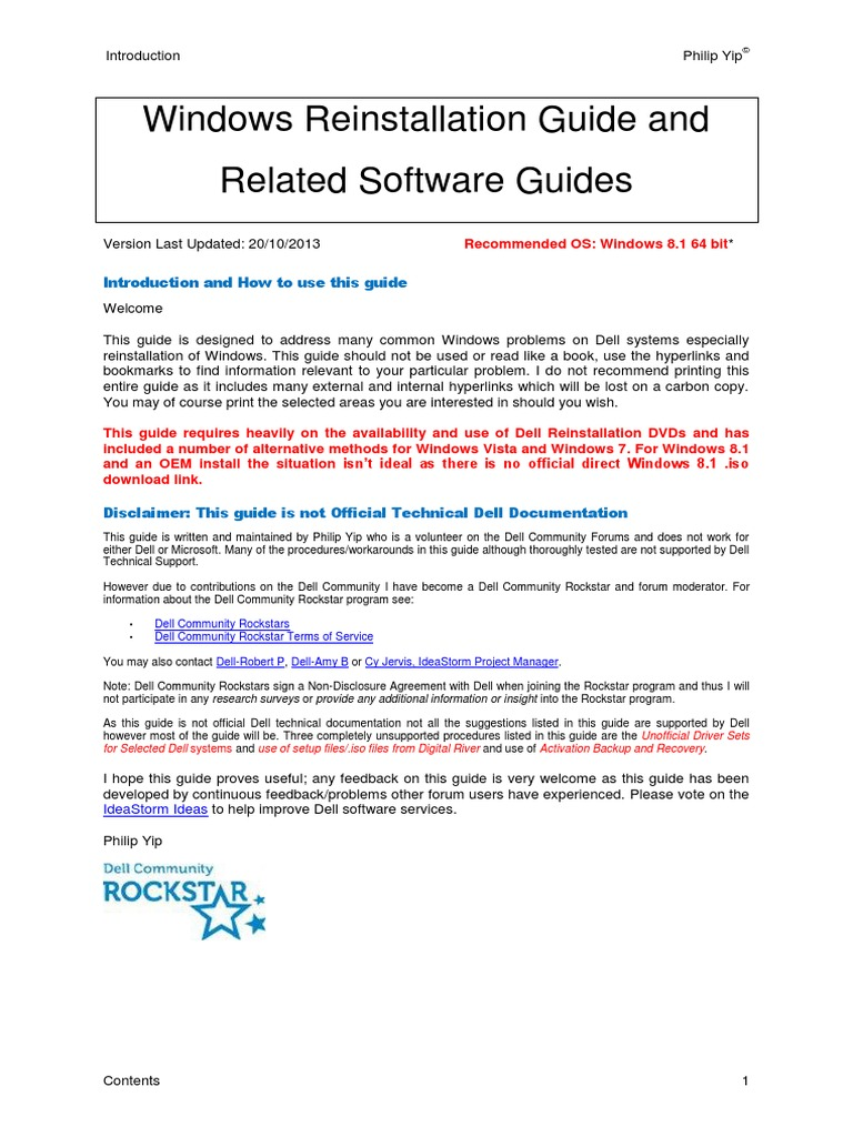 Windows Reinstallation Guide and Related Software Guides