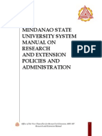 Mindanao State University System Manual on Research and Extension Policies and Administration