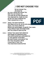 My Lord i Did Not Choose You Lyrics