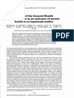 The use ofthe General Health Questionnaire as an indicator of mental health in occupational studies