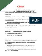 Canon G3 Error Codes