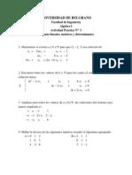 Act. Pract 3 Sistemas Lineales, Matrices, Determinantes. 2014 Ing
