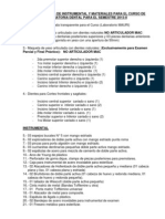 Requerimiento de Instrumental y Materiales Semestre 2013-1