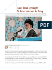 Khamenei Says Iran Strongly Opposes U.S. Intervention in Iraq