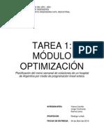 CARRILLO- CONTRERAS - LEIVA. INTRODUCION a LA INGENIERIA. (Planificacion Del Menu Semanal de Colaciones de Un Hospital Argentino Por Medio de Programacion Lineal Entera)