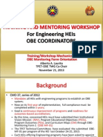 Workshop Mechanics and Orientation on OBE MF-01