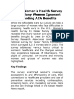 Kaiser Women's Health Survey Finds Many Women Ignorant Regarding ACA Benefits