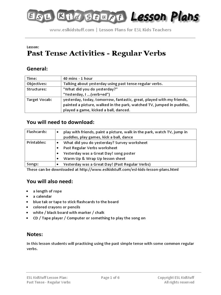 Past Tense Regular Verbs Lesson Plan | Lesson Plan