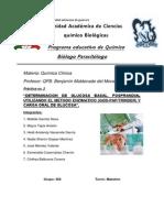 """""""Determinacion de Glucosa Basal, Posprandial Utilizando El Metodo Enzimatico (God-paptrinder) y Carga Oral de Glucosa""""."""
